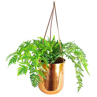60cm Hanging Copper Planter with Artificial Evergreen Fern Plant
