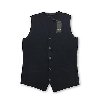 VNECK knitted waistcoat in navy waffle texture