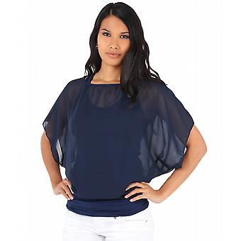 KRISP Oversize Chiffon Ruched Top