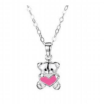 Jo For Girls Sterling Silver Teddy Pink Heart Enamel Pendant on 14 Inch Chain