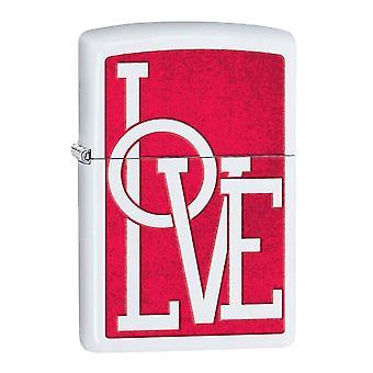 Love White Matte Zippo Lighter