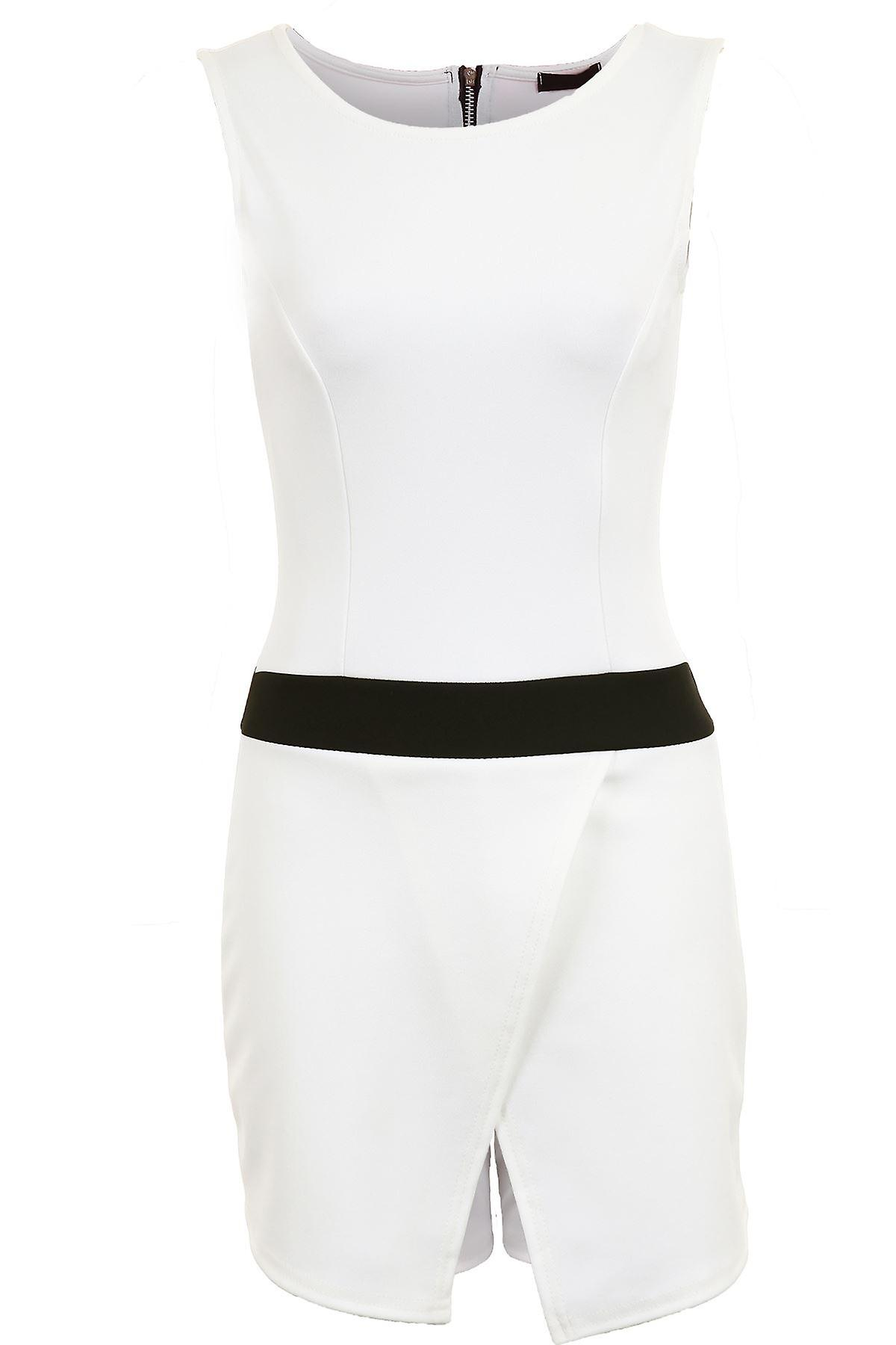 Ladies Sleeveless Round Neck Wrap Short Contrast Fitted Bodycon Women's Playsuit