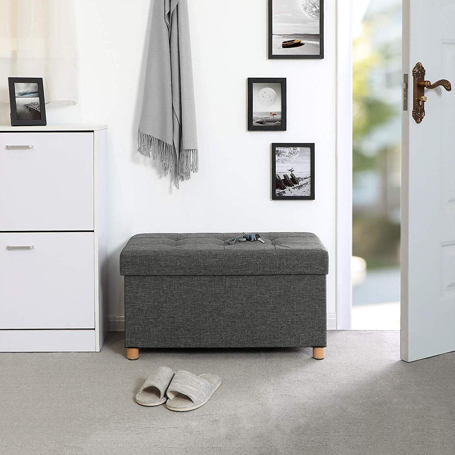Linen Hocker with storage space and wooden legs-76 x 38 x 40 cm