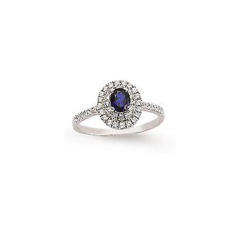 Jewelco London Rhodium Plated Silver Blue and White Oval and Round Brilliant Cubic Zirconia Halo Engagement Ring