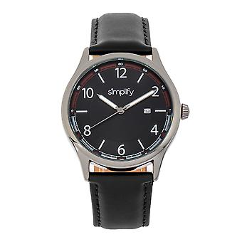 Simplify The 6900 Leather-Band Watch w/ Date - Black