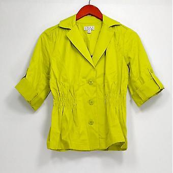 Joan Rivers Classics Coll. Blazer 3/4 Roll Tab Sleeves Bright Green A253756
