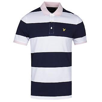 Lyle & Scott Wide Stripe Navy & White Polo Shirt