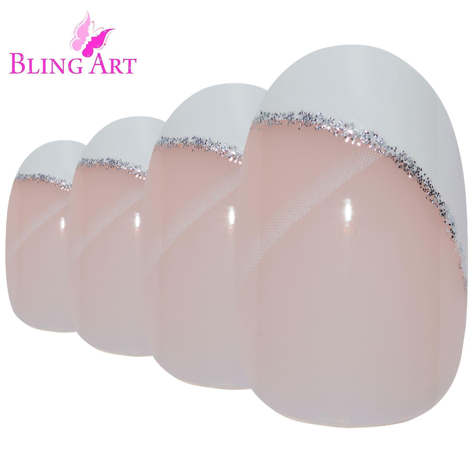 False nails by bling art white polished oval medium fake 24 french nail tips
