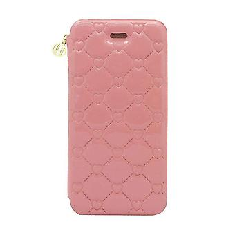 iPhone 6/6s - 4.7 Inch Patent Embossed Heart Folio Hard Shell Pink