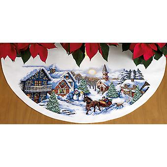 Sleigh Ride Tree Skirt Counted Cross Stitch Kit 45
