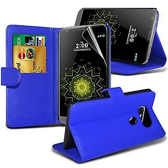 i-Tronixs LG G5 PU Leather Wallet Classic Flip Case + Screen Protector Guard -Blue