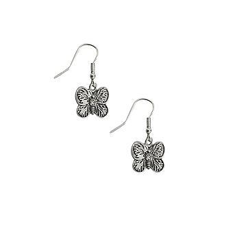 Silver Butterfly Drop Earrings
