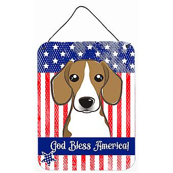 God Bless American Flag with Beagle Wall or Door Hanging Prints BB2169DS1216