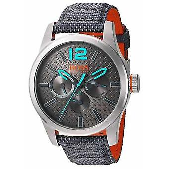 Hugo Boss Orange Mens Paris Grey Fabric Strap Grey Dial 1513379 Watch