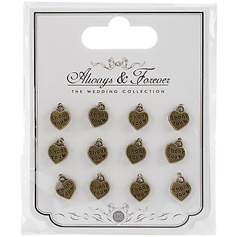 Craft Consortium Wedding Metal Vintage Heart Charms 12/Pkg-Thank You AFMCHRM8