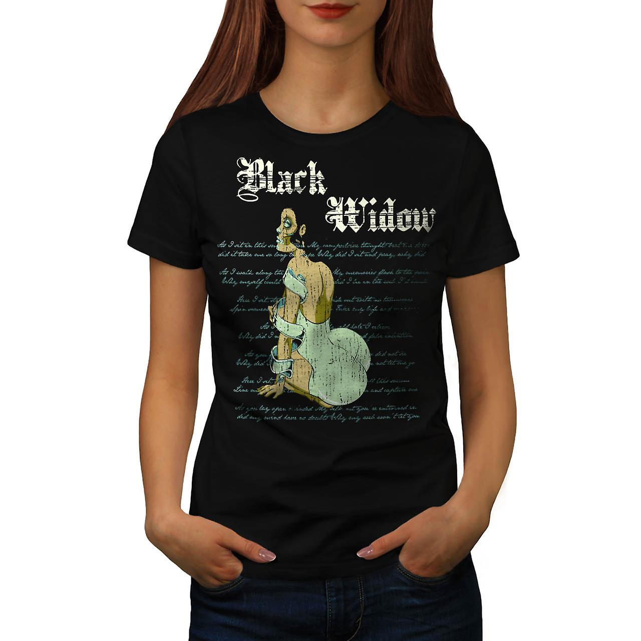 Black Widow Dress Spider Curse Women Black T-shirt | Wellcoda