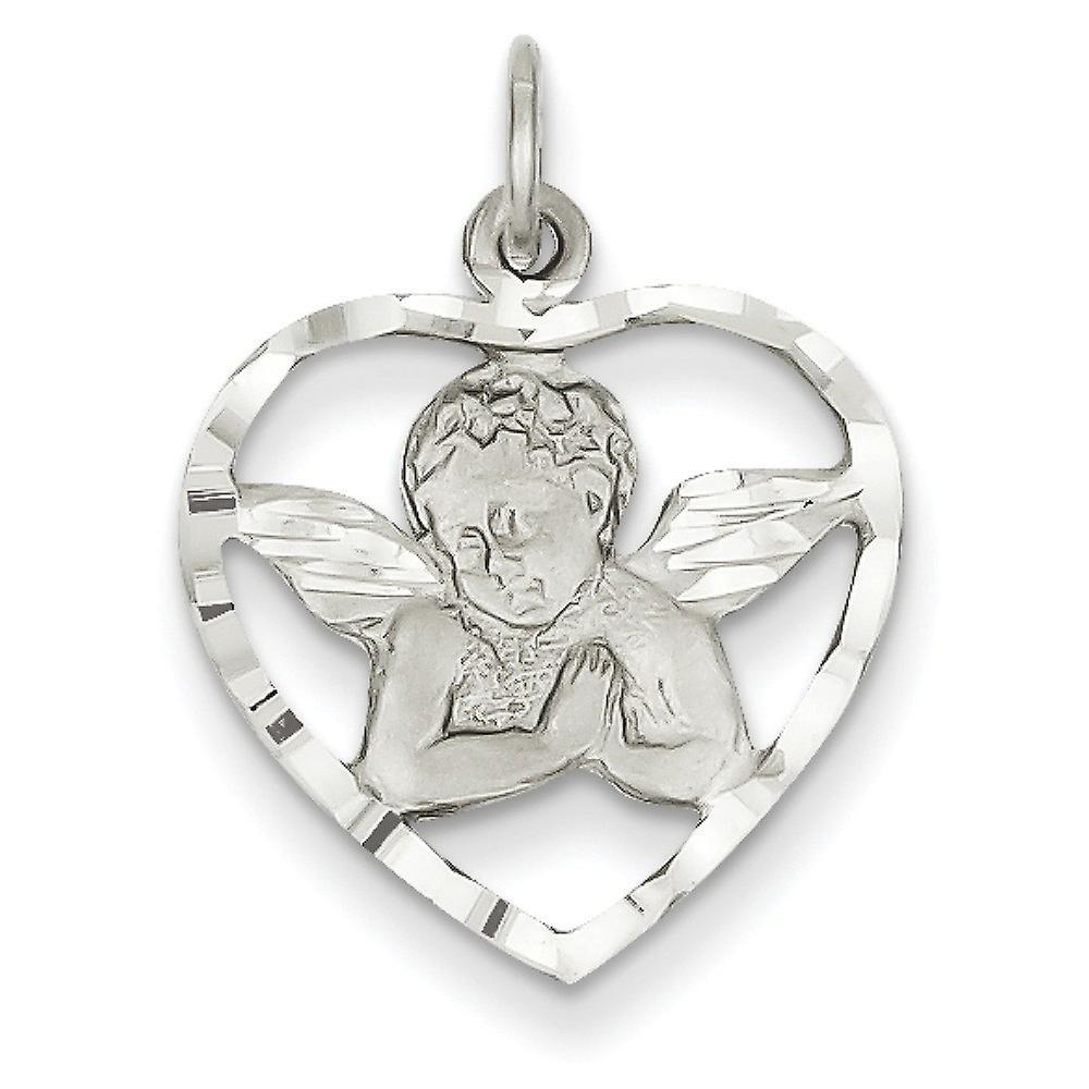14k blanc or Satin Polished Sparkle-Cut Texturouge back Not engraveable Angel in Heart Charm - Measures 16x16mm