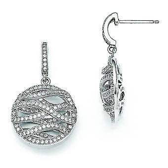 Sterling Silver and Cubic Zirconia Polished Round Dangle Post Earrings