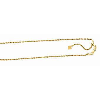 925 Sterling sølv gull-blinket finish 1,5 mm Sparkle-cut justerbar tau kjede hummer låsen anklet