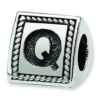 Sterling Silver Reflections Letter Q Triangle Block Bead Charm