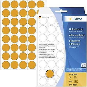 Herma 2254 Labels (hand writable) Ø 19 mm Paper Fluorescent orange 960 pc(s) Permanent adhesive Sticky dots