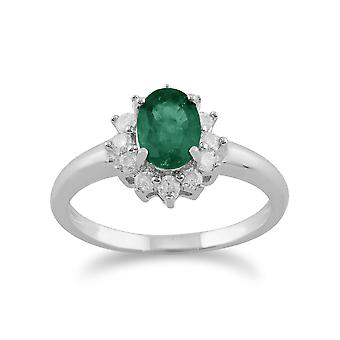 Gemondo 9ct witgoud 0,83 ct Emerald & ovale Cluster diamantring