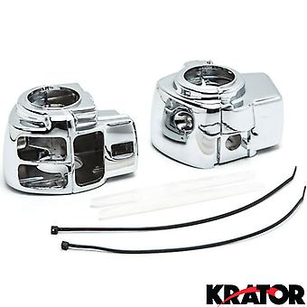 Chrome Handlebar Switch Housings Control Cover Kit For 2006-2012 Harley Davidson Street Glide FLHX