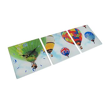 3 Panel Glass Wall Clock - Hot Air Balloon Design