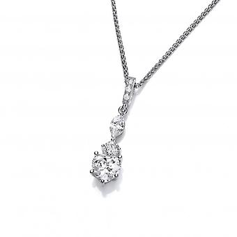 Cavendish French Silver and CZ Ornate Drop Pendant
