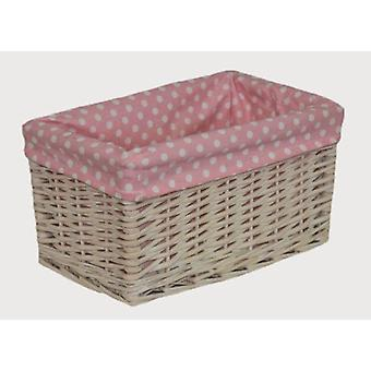 Small Pink Spotty Lined Storage Basket