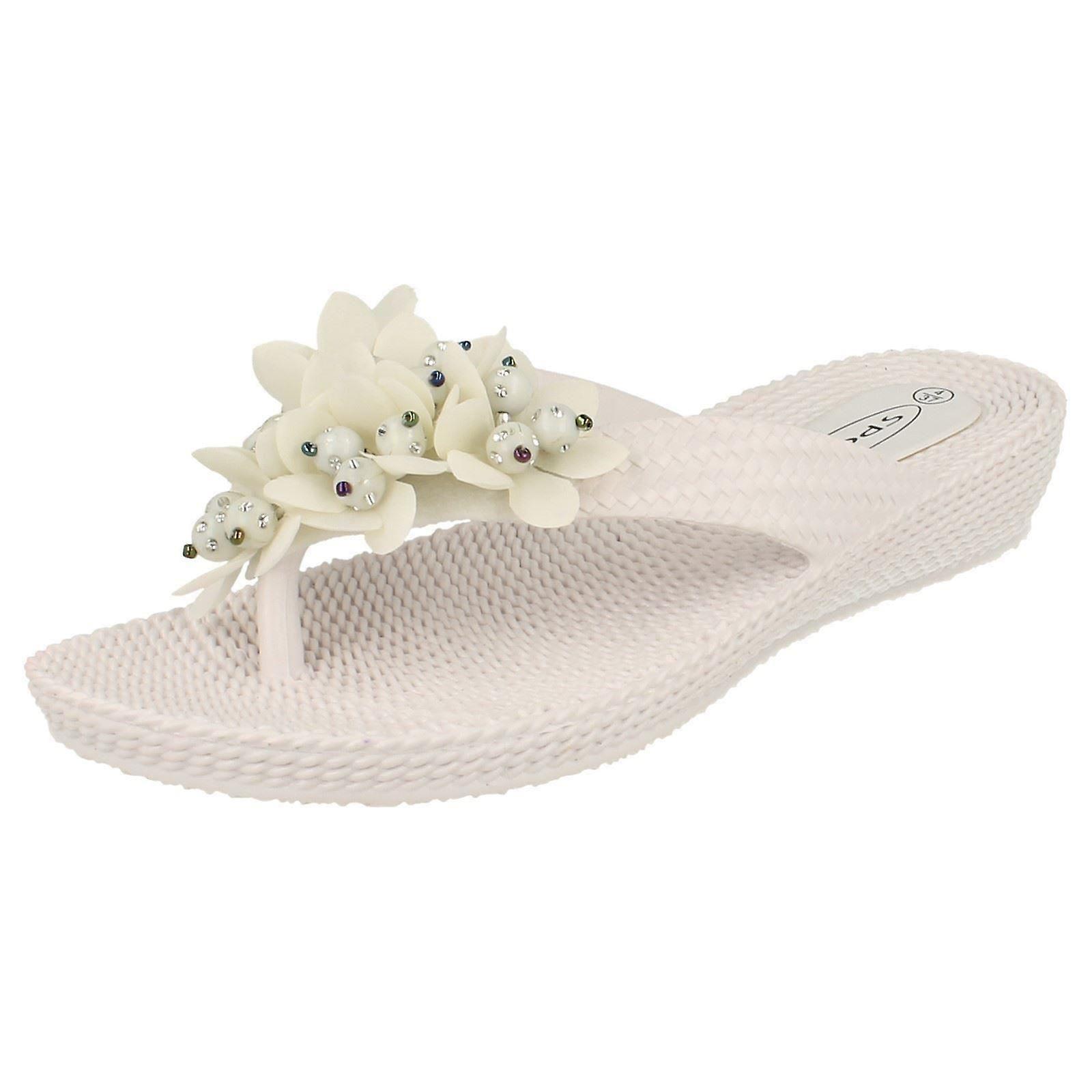 Ladies Low Flower Wedge On With Slip Detail Sandals qqrdxCa