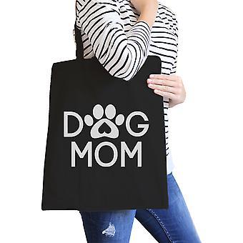 Perro mamá lienzo gráfico lindo lavable negro bolso de mano para los amantes del perro