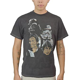 Star Wars Distressed Faces Men's Black T-shirt