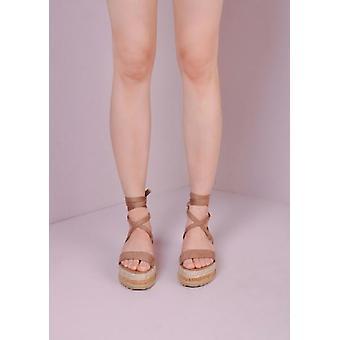 Suede Lace Up gevlochten Cork wig platte Espadrille sandalen mokka