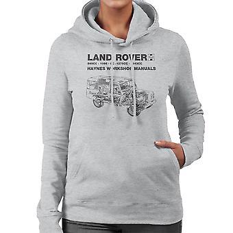 Taller de Haynes Manual Land Rover negro sudadera con capucha de mujer
