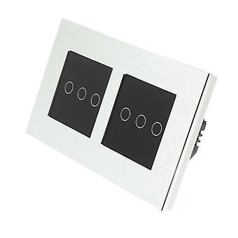 Я LumoS серебряный матовый алюминий Двойная рамка 6 Gang 1 способ удаленного WIFI / 4G сенсорный Светодиодные переключения черные вставки