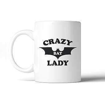 Señora de murciélago loco blanco cerámica taza Halloween decorativo taza de café
