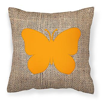 Butterfly Burlap and Orange   Canvas Fabric Decorative Pillow BB1047