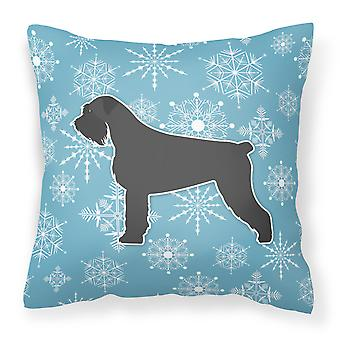 Winter Snowflake Giant Schnauzer Fabric Decorative Pillow
