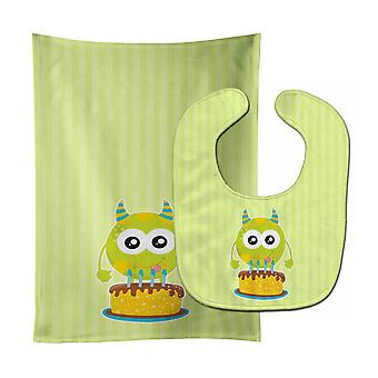 Carolines Treasures  BB9101STBU Birthday Monster Cake Baby Bib & Burp Cloth