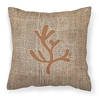 Coral Burlap and Brown   Canvas Fabric Decorative Pillow BB1103