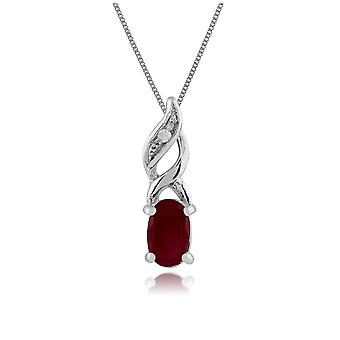 Gemondo 9ct White Gold 0.32ct Ruby & Diamond Pendant on Chain