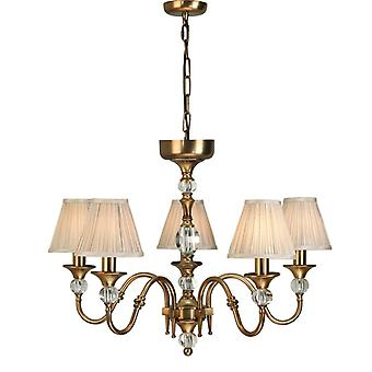 Polina Antique Brass Five Light Ceiling Pendant With Beige Shades - Interiors 1900 63587