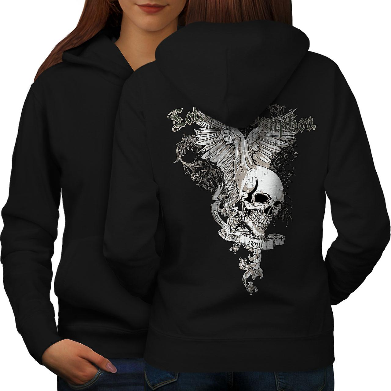 Total Coolest Skull Women BlackHoodie Back | Wellcoda