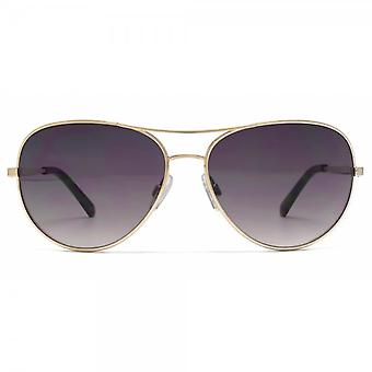 French Connection Metal Pilot Sunglasses In Shiny Gold