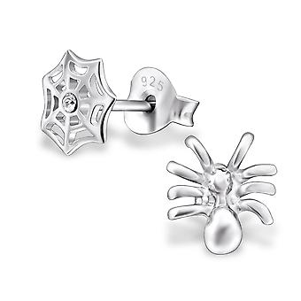 Spider And Spider Web - 925 Sterling Silver Crystal Ear Studs - W30232x