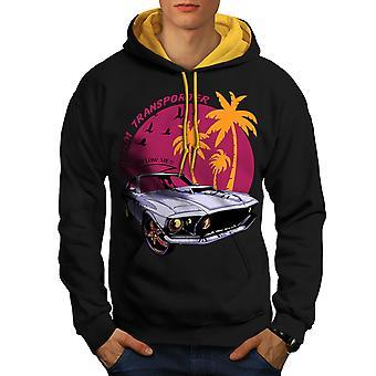 America Muscle Car Men Black (Gold Hood)Contrast Hoodie | Wellcoda