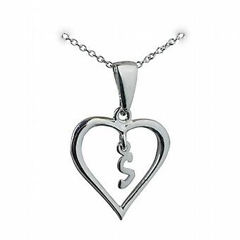 Silver 18x18mm initial S in a heart Pendant with a rolo Chain 20 inches