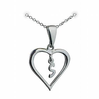 Zilver 18x18mm eerste S in een hart hanger met een rolo ketting 20 inch