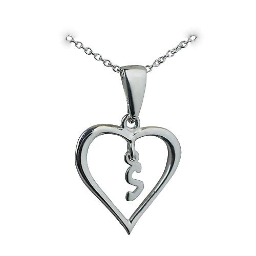 Silver 18x18mm initial S in a heart Pendant with a rolo Chain 14 inches Only Suitable for Childrenes